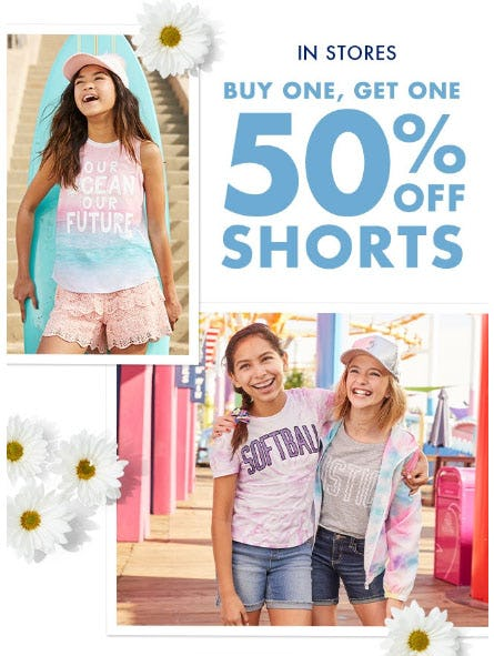 BOGO 50% Off Shorts from Justice