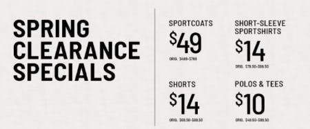 Spring Clearance Specials from Jos. A. Bank