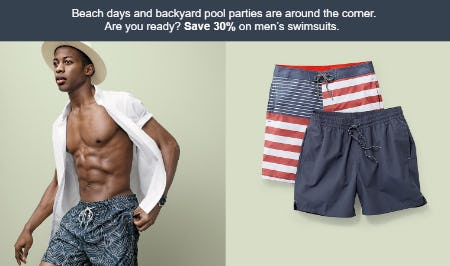 Save 30% on Men's Swimsuits from Target