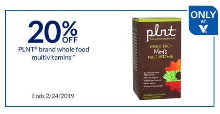 20% Off PLNT Brand Whole Food Multivitamins from The Vitamin Shoppe