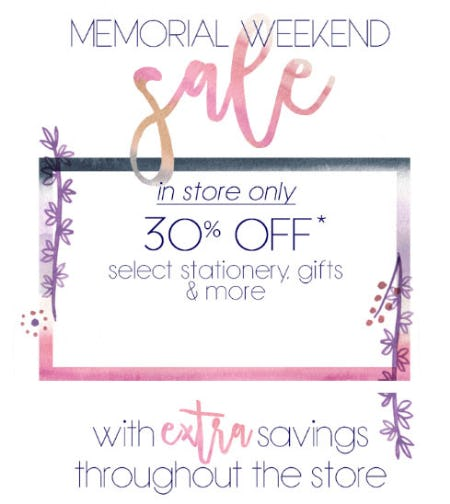 30% Off Memorial Weekend Sale from PAPYRUS