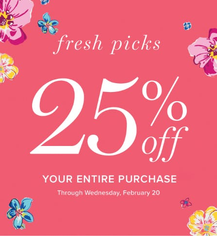 Your Entire Purchase 25% Off from Vera Bradley