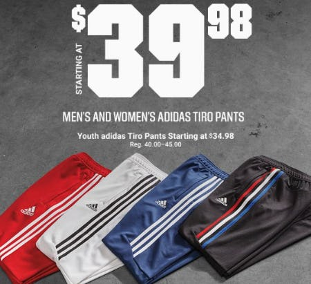 Men's and Women's adidas Tiro Pants Starting at $39.98 from Dick's Sporting Goods