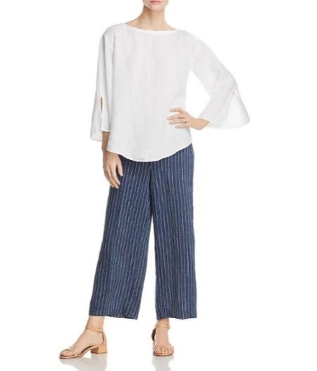 Eileen Fisher Striped Linen Wide-Leg Crop Pants