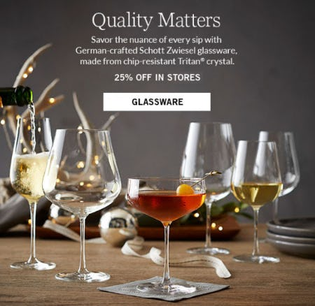 25% Off All Glassware