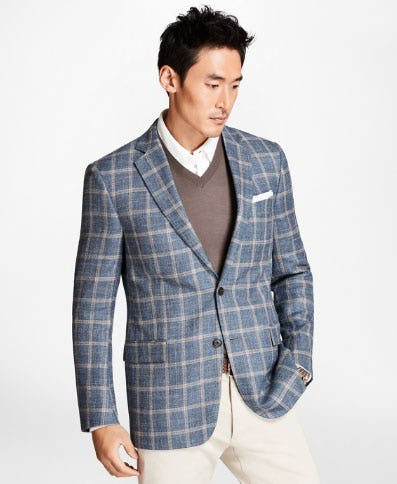 Regent Fit Light-Blue with Tan Windowpane Sport Coat from Brooks Brothers