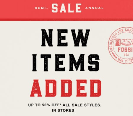 Semi Annual Sale Up to 50% Off from Fossil