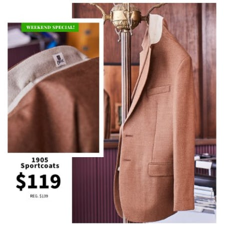 1905 Sportcoats $119 from Jos. A. Bank