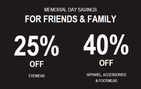Up to 40% Off Memorial Day Sale from Oakley