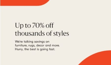 Up to 70% Off Thousands of Styles from West Elm