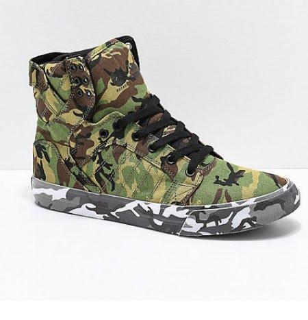 Supra x Rothco Skytop Green Camo Skate Shoes from Zumiez