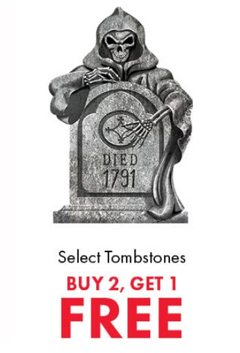 B2G1 Free Select Tombstones from Party City