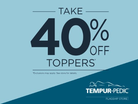 40% Off Topers from Tempur-Pedic