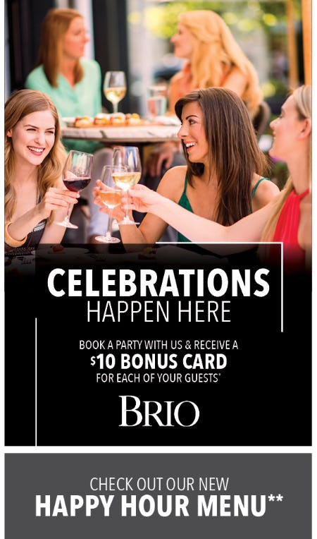 Book Your Banquet Party at BRIO!