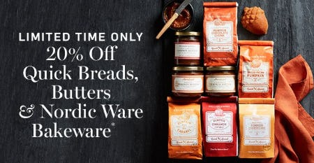 20% Off Quick Breads, Butters & Nordic Ware Bakeware from Williams-Sonoma