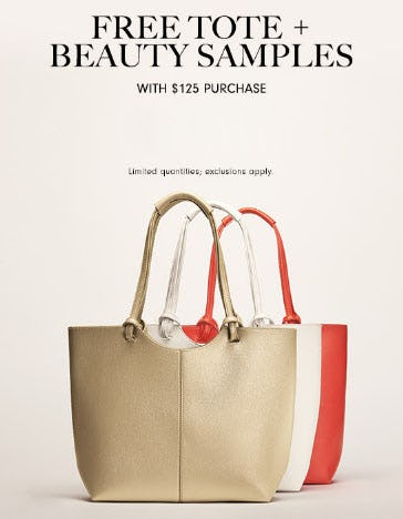 Free Beauty Tote & Samples with $125 Purchase