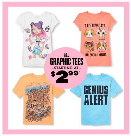 All Graphic Tees Starting at $2.99 from The Children's Place