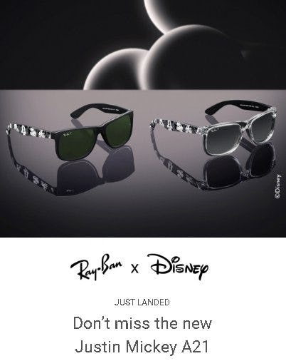 The New Ray-Ban x Disney Just Landed from Sunglass Hut