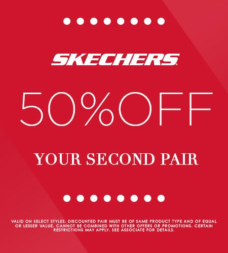 SKECHERS 50% OFF YOUR 2ND PAIR SALE! from Skechers