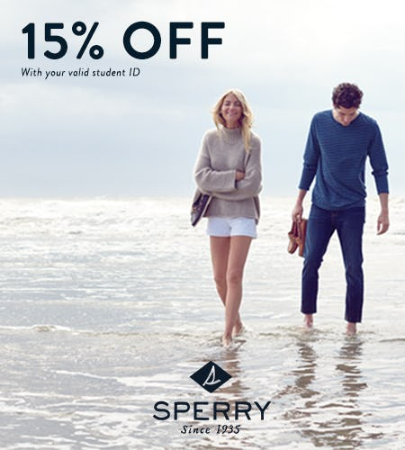 15% OFF with valid student ID from Sperry Top-Sider