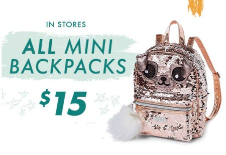 $15 All Mini Backpacks from Justice