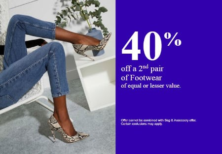 40% Off a 2nd Pair of Footwear of Equal or Lesser Value from ALDO Shoes