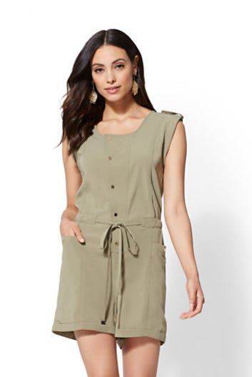 Drawstring-Tie Romper from New York & Company Outlet