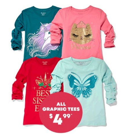 All Graphic Tees $4.99 from The Children's Place