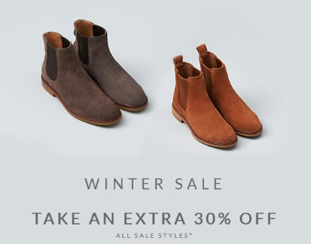 Winter Sale: Take an Extra 30% Off All Sale Styles from Clarks