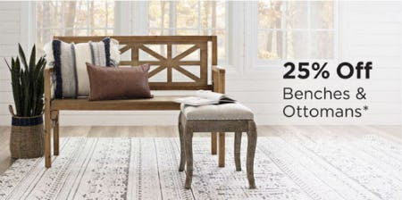 25% Off Benches & Ottomans