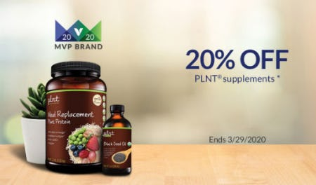 20% Off PLNT Supplements from The Vitamin Shoppe