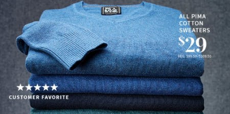 All PIMA Cotton Sweaters $29 from Jos. A. Bank