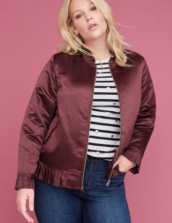 Ruffle-Trim Satin Bomber Jacket from Lane Bryant