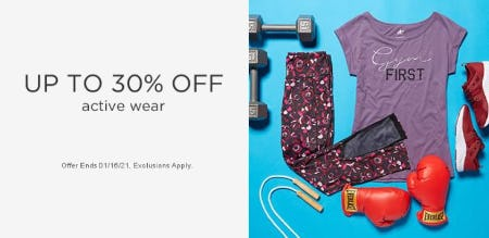 Up to 30% Off Active Wear