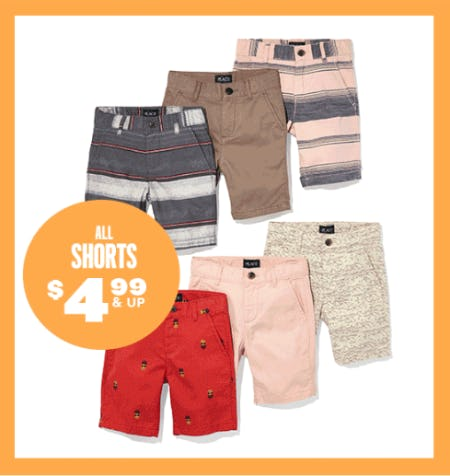 All Shorts $4.99 & Up from The Children's Place