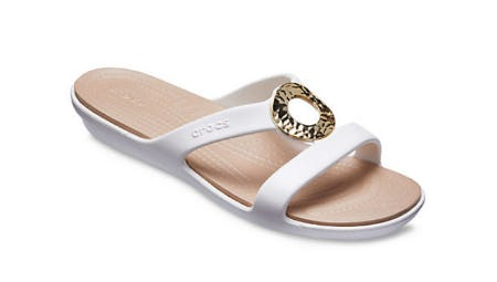 Women's Sanrah Hammered Metallic Sandals from Crocs