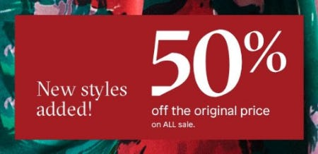 50% Off The Original Price On All Sale