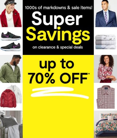 Super Savings on Clearance & Specials up to 70% Off from JCPenney