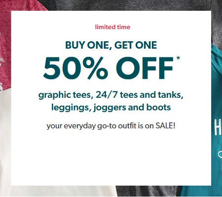 Buy One, Get One 50% Off Graphic Tees, 24/7 Tees and Tanks, Leggings, Joggers and Boots from maurices