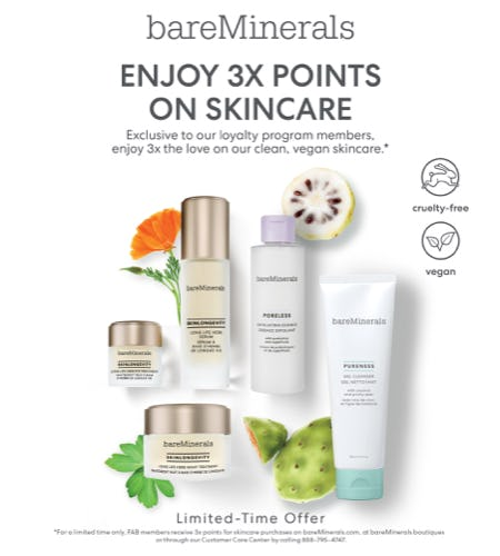 Triple Points on Skincare! from bareMinerals