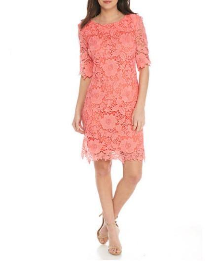 Sandra Darren Lace Solid Dress from Belk