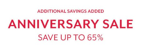 Up to 65% Off Anniversary Sale