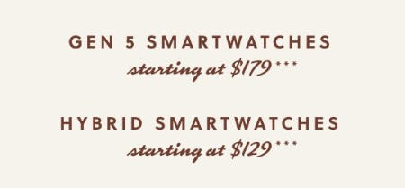 Gen 5 Smartwatches Starting at $179 & Hybrid Smartwatches Starting at $129 from Fossil