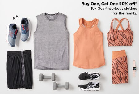 BOGO 50% Off Tek Gear Workout Clothes for the Family from Kohl's