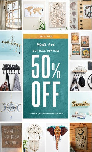 BOGO 50% Off Wall Art from Earthbound Trading Company