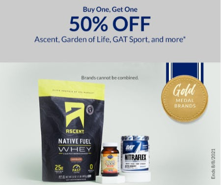 BOGO 50% Off Ascent, Garden of Life, GAT Sport, and More from The Vitamin Shoppe
