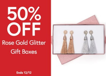 50% Off Rose Gold Glitter Gift Boxes from Charming Charlie