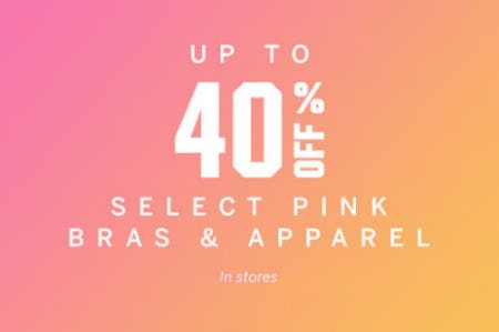 Up to 40% Off Pink Bras & Apparel from Victoria's Secret