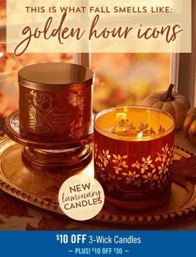 $10 Off 3-Wick Candles from Bath & Body Works/White Barn