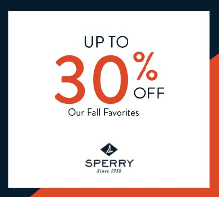 30% OFF + FREE GIFT WITH YOUR PURCHASE from Sperry Top-Sider